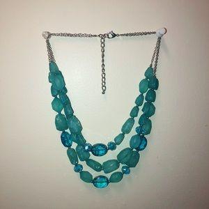 Blue faux gemstone necklace